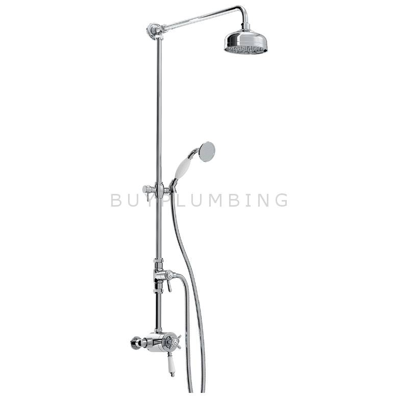 Bristan 1901 Thermostatic Exposed Dual Control Shower With Rigid Riser (N2 CSHXDIV C)