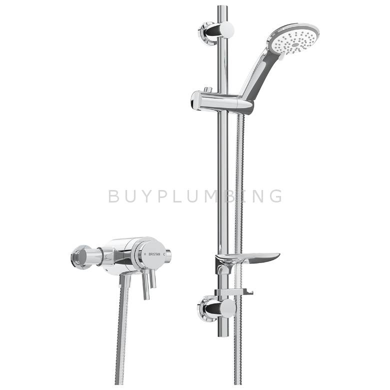 Bristan Prism Thermostatic Exposed Dual Control Shower Valve With Adjustable Riser Kit