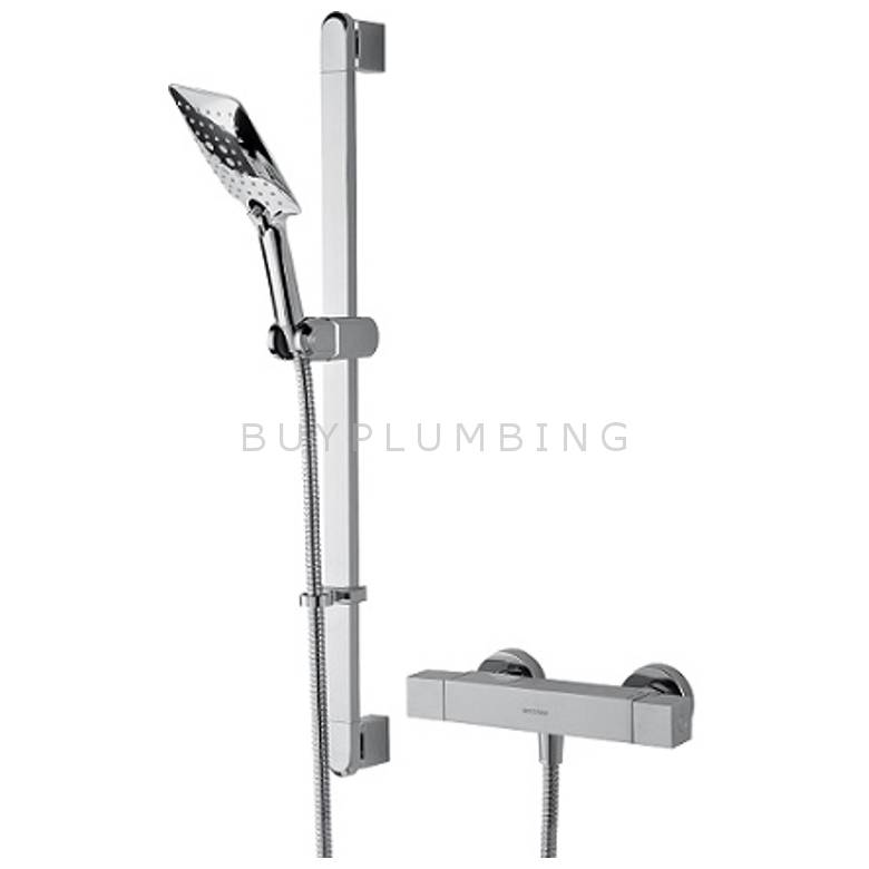Bristan Quadrato Thermostatic Exposed Bar Valve With Riser Kit, Single Function Handset & Fast Fit Connections