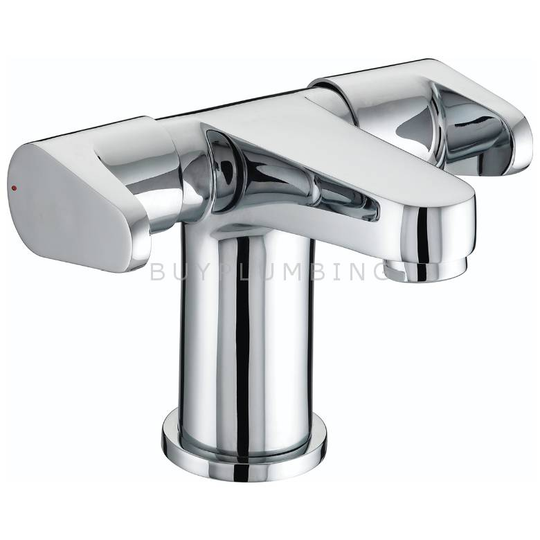Bristan Quest Two Handled Basin Mixer With Clicker Waste (QST BAS2 C)