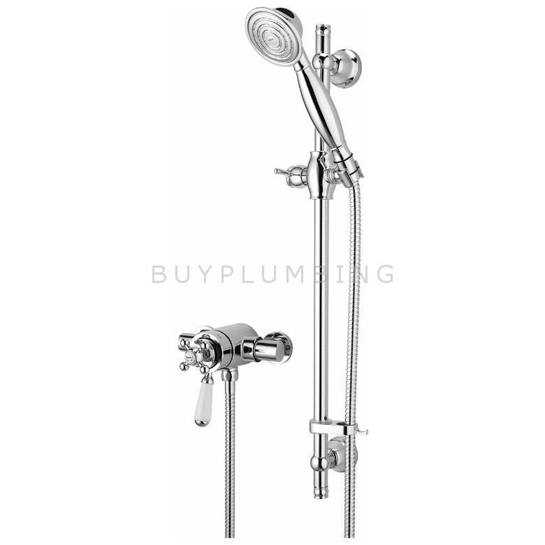 Bristan Regency Thermostatic Exposed Dual Control Mini Valve With Riser Rail & Single Function Handset
