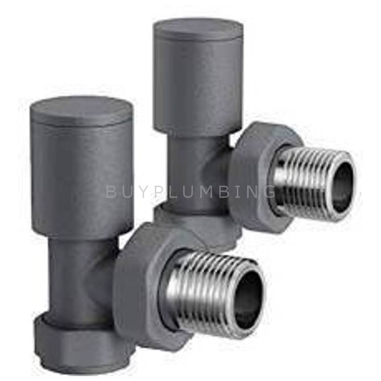 Euro Heating Angle Round Radiator Valves (Anthracite) (A-AVR)