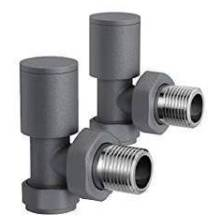 Euro Heating Angle Round Radiator Valves (Anthracite)