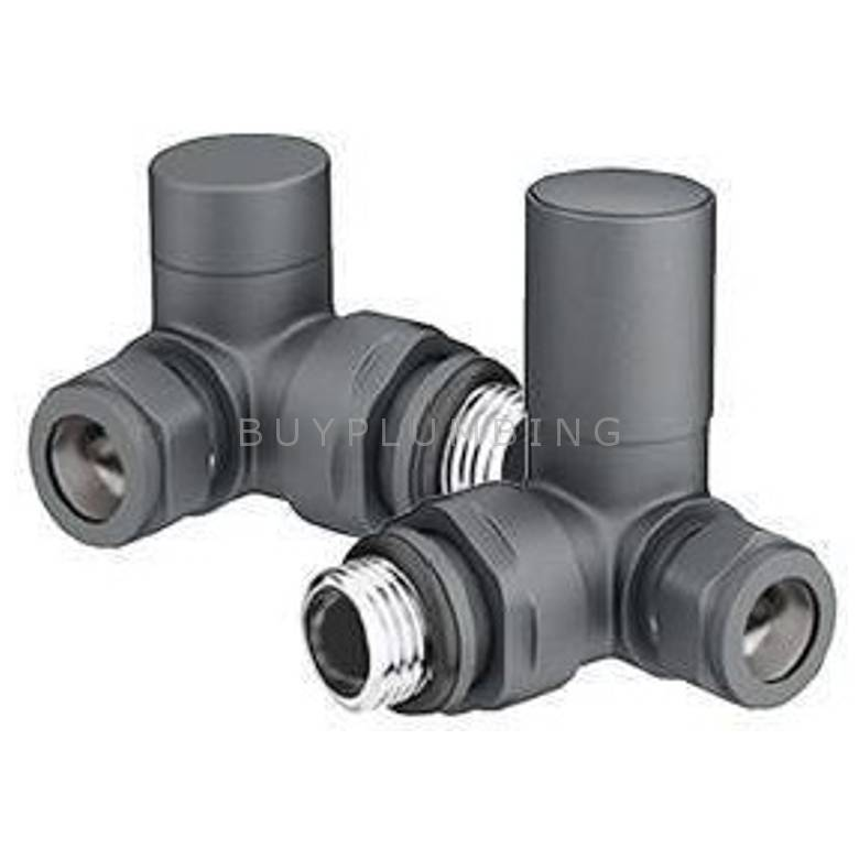 Euro Heating Corner Round Radiator Valves (Anthracite)