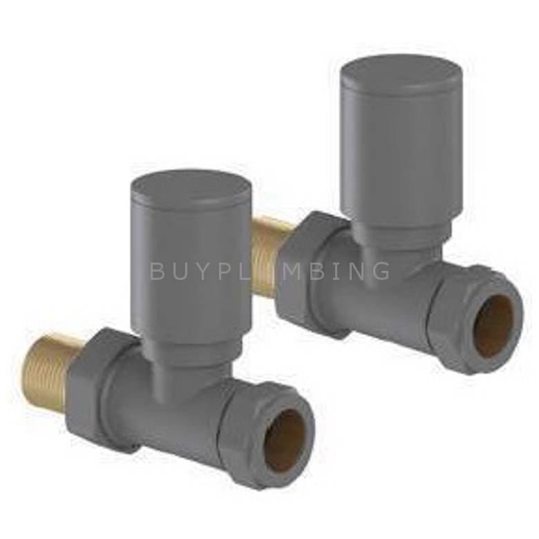 Euro Heating Straight Round Radiator Valves (Anthracite) (A-SVR)