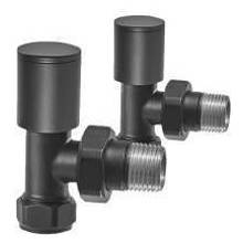 Euro Heating Angle Round Radiator Valves (Black)