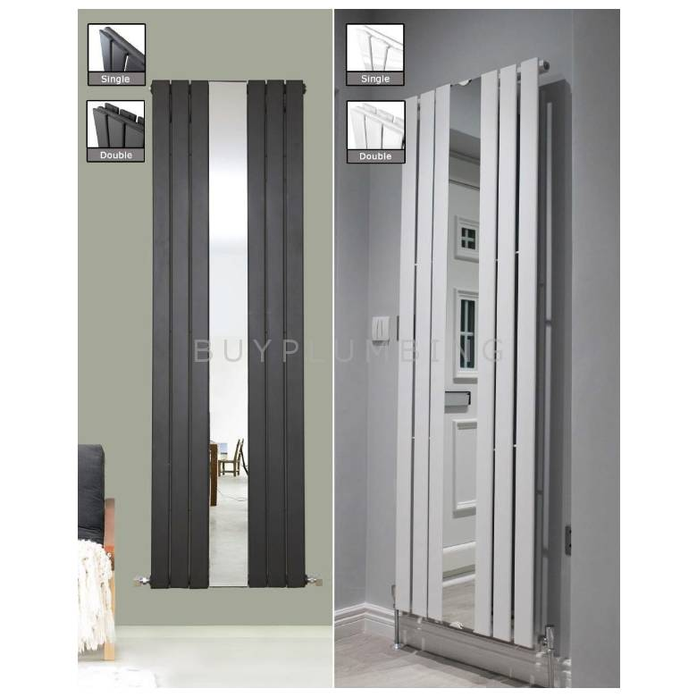 Euro Heating Flair Designer Vertical Double Radiator 1800 x 500mm With Mirror (Anthracite)