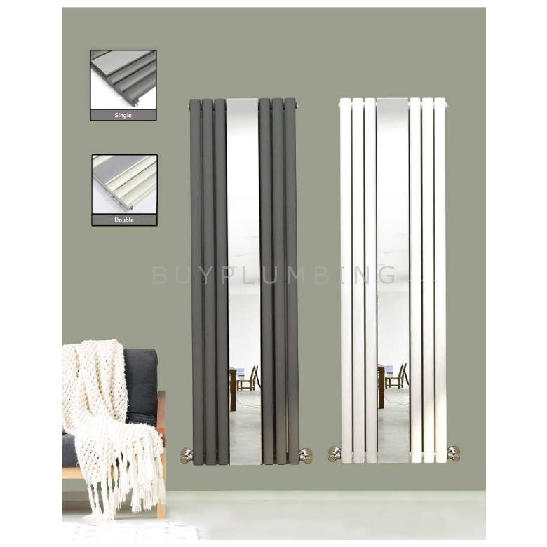 Euro Heating Milano Designer Vertical Single Radiator 1800 x 500mm With Mirror (White)