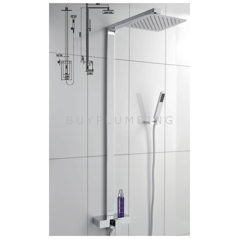 Hygienic Bathrooms Thermostatic Shower Mixer With Rigid Riser Rail Kit (8822)