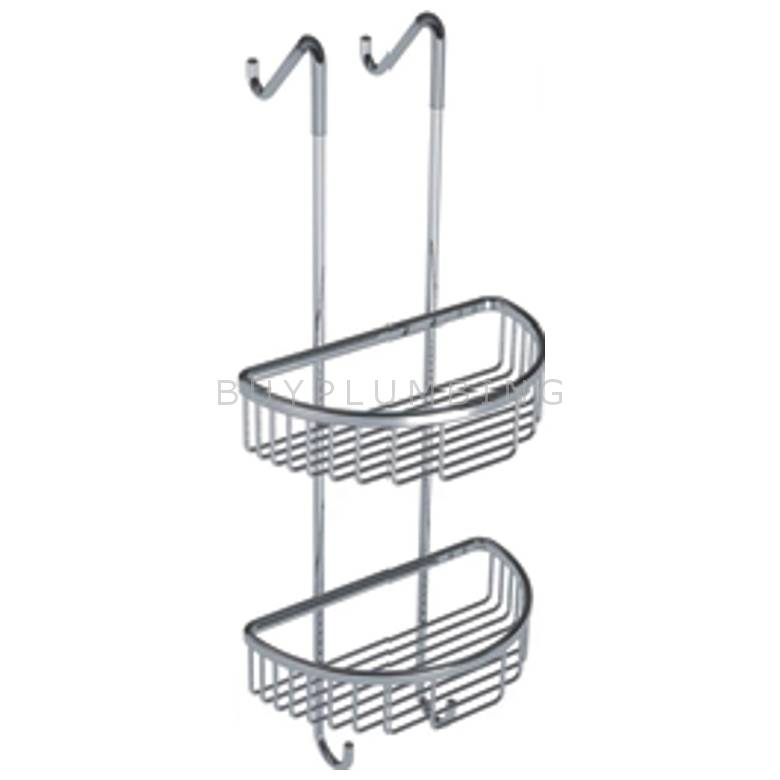 Hygienic Bathrooms 2 Tier Double Caddy Storage Rack With Curved Baskets