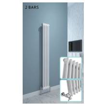 Hygienic Bathrooms Traditional 8 Bar Vertical Column Radiator H1500 x W196mm (White)