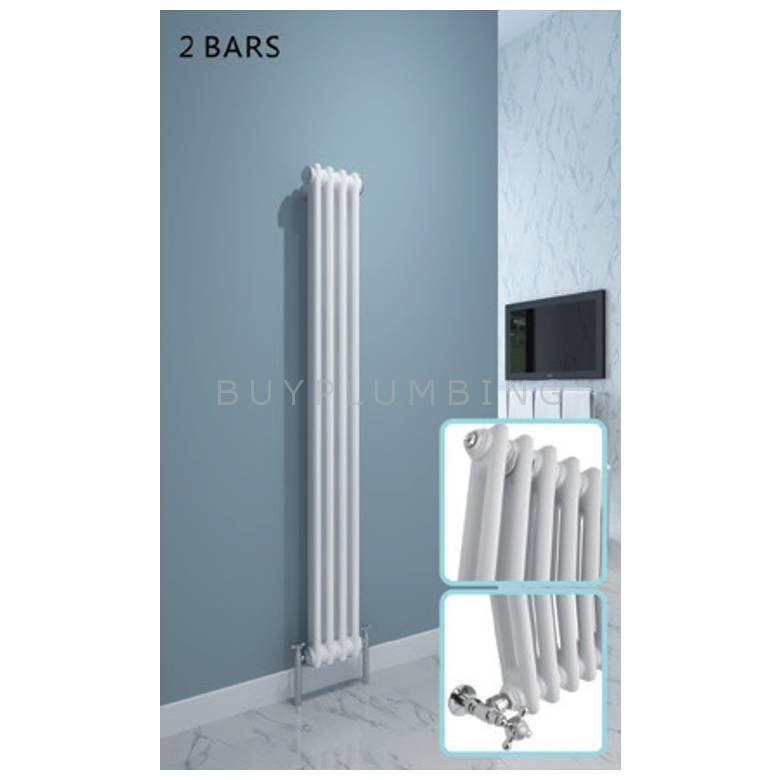 Hygienic Bathrooms Traditional 12 Bar Vertical Column Radiator H1500 x W284mm (White) (CD15028W)