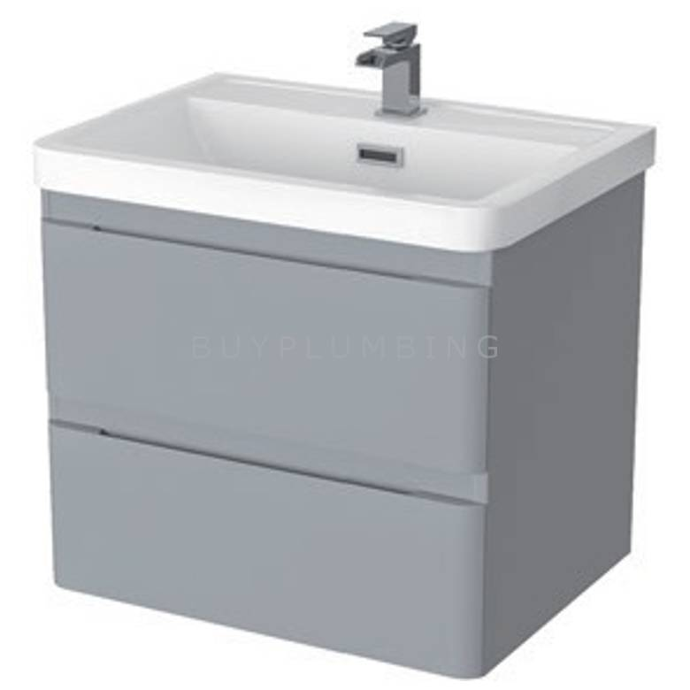 Hygienic Bathrooms Merry Light Grey Gloss Wall Mounted Basin Vanity Unit H500 x W600mm