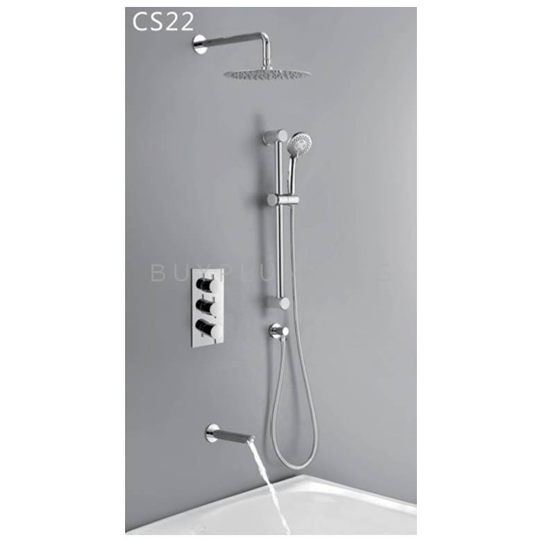Hygienic Bathrooms Concealed Thermostatic Shower Mixer Valve With Round Ultra Slim Shower Head, Slider Rail Kit & Bath Filler Spout (CS22)