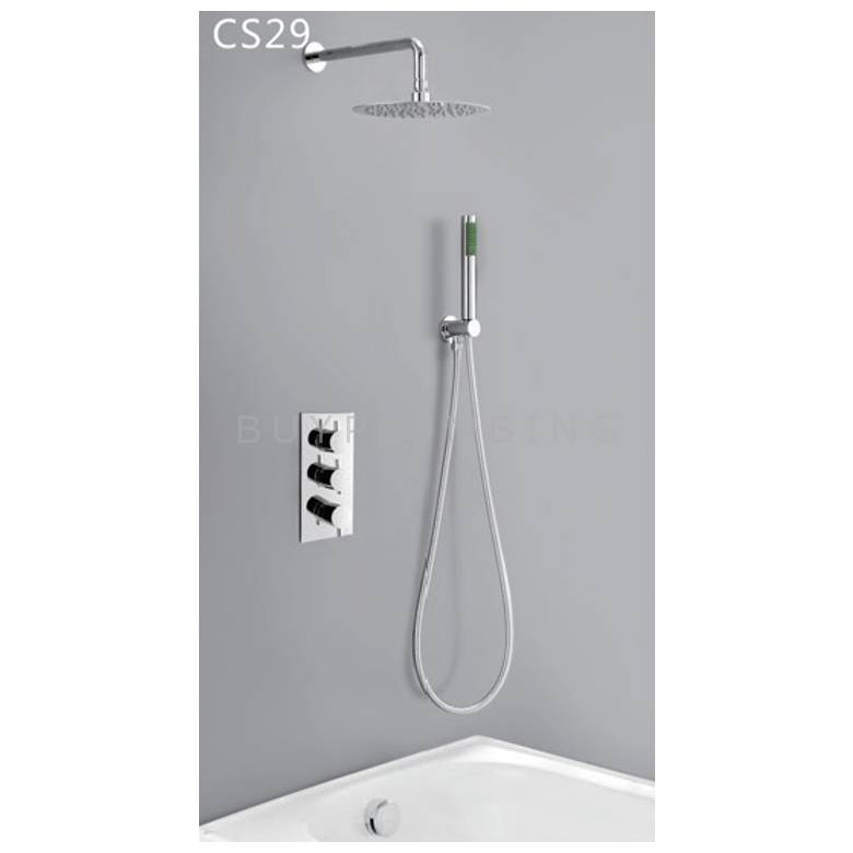 Hygienic Bathrooms Concealed Thermostatic Shower Mixer Valve With Round Ultra Slim Shower Head, Hand Shower Outlet Kit & Bath Filler Waste