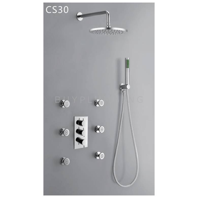 Hygienic Bathrooms Concealed Thermostatic Shower Mixer Valve With Round ABS Shower Head, Hand Shower Outlet Kit & Body Jets (CS30)