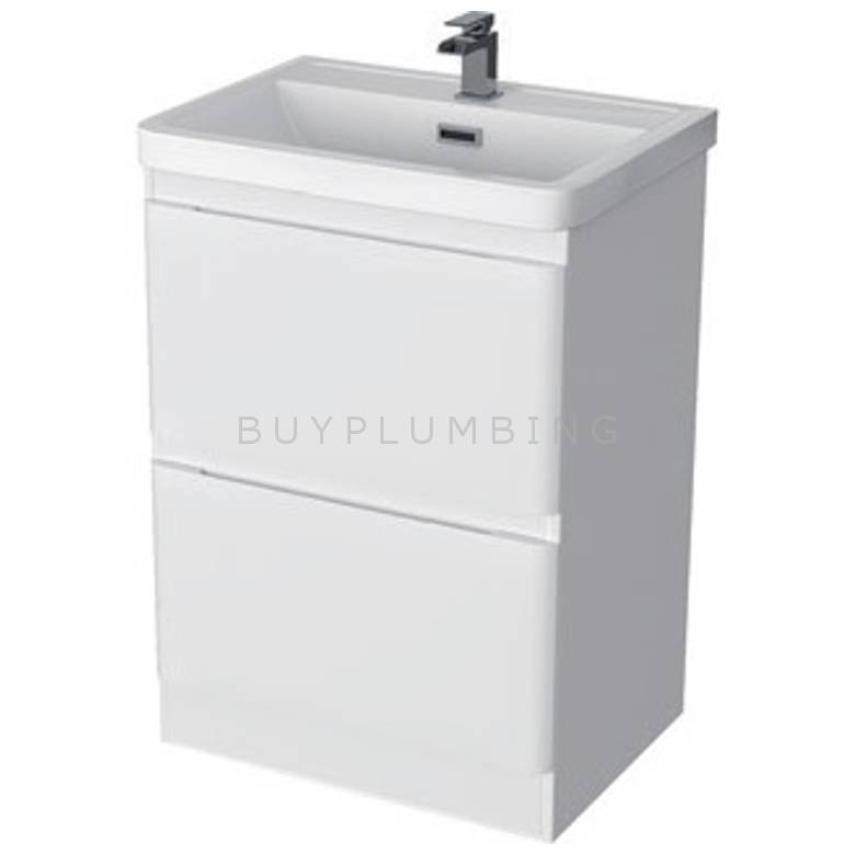 Hygienic Bathrooms Stirling White Gloss Basin Vanity Unit H855 x W600mm (CS600A)