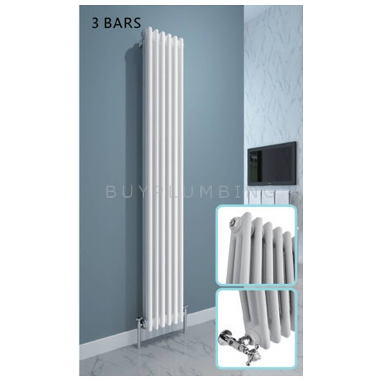 Hygienic Bathrooms Traditional 18 Bar Vertical Column Radiator H1800 x W284mm (White)
