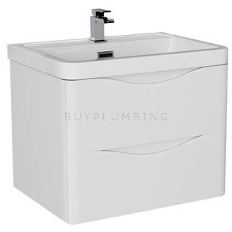 Hygienic Bathrooms Dwight White Gloss Wall Mounted Basin Vanity Unit H500 x W600mm (DW150-W)
