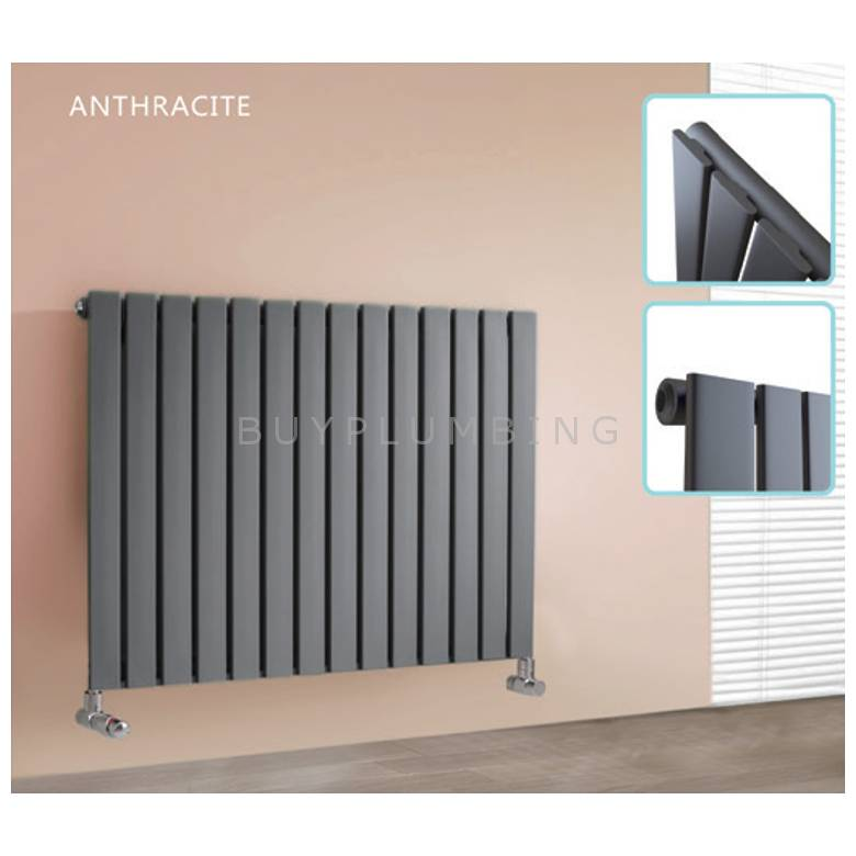 Hygienic Bathrooms 13 Bar Horizontal Single Flat Panel Designer Radiator H600 x W984mm (Anthracite)