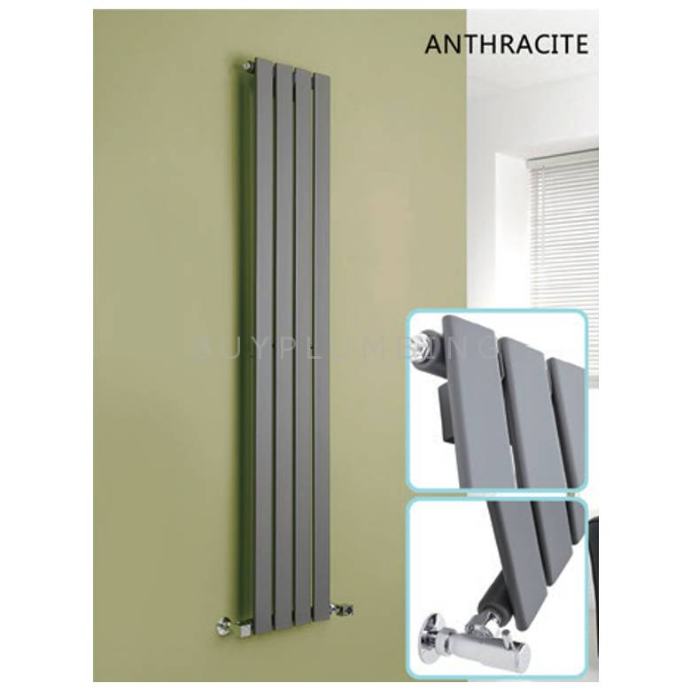 Hygienic Bathrooms 5 Bar Vertical Single Flat Panel Designer Radiator H1600 x W376mm (Anthracite) (FV16037A)