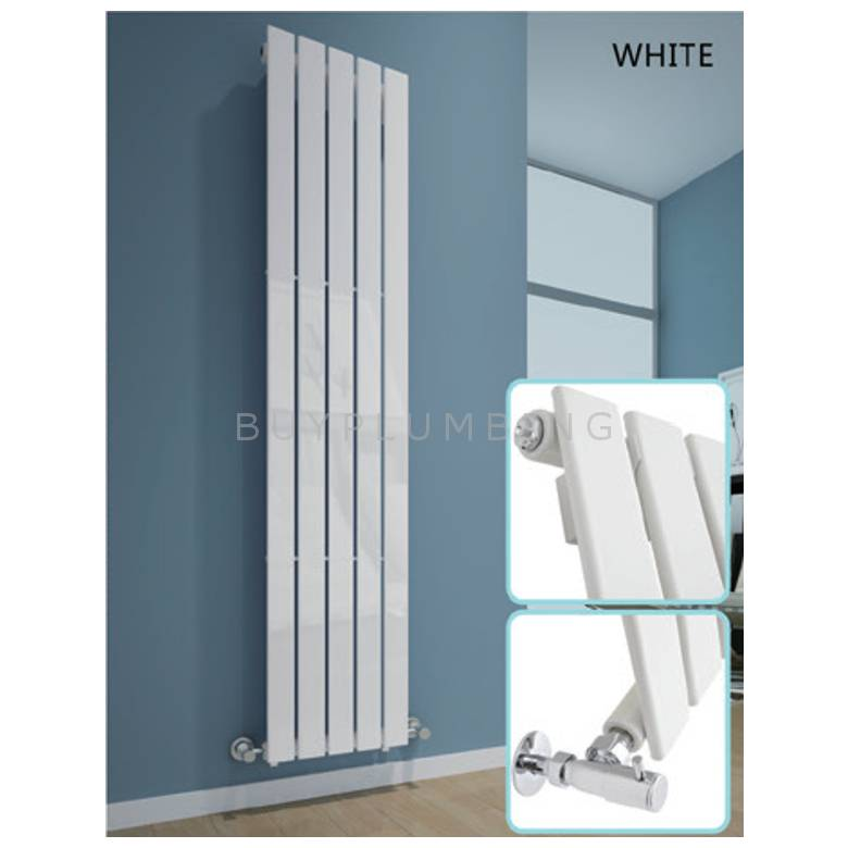 Hygienic Bathrooms 5 Bar Vertical Single Flat Panel Designer Radiator H1600 x W376mm (White) (FV16037W)