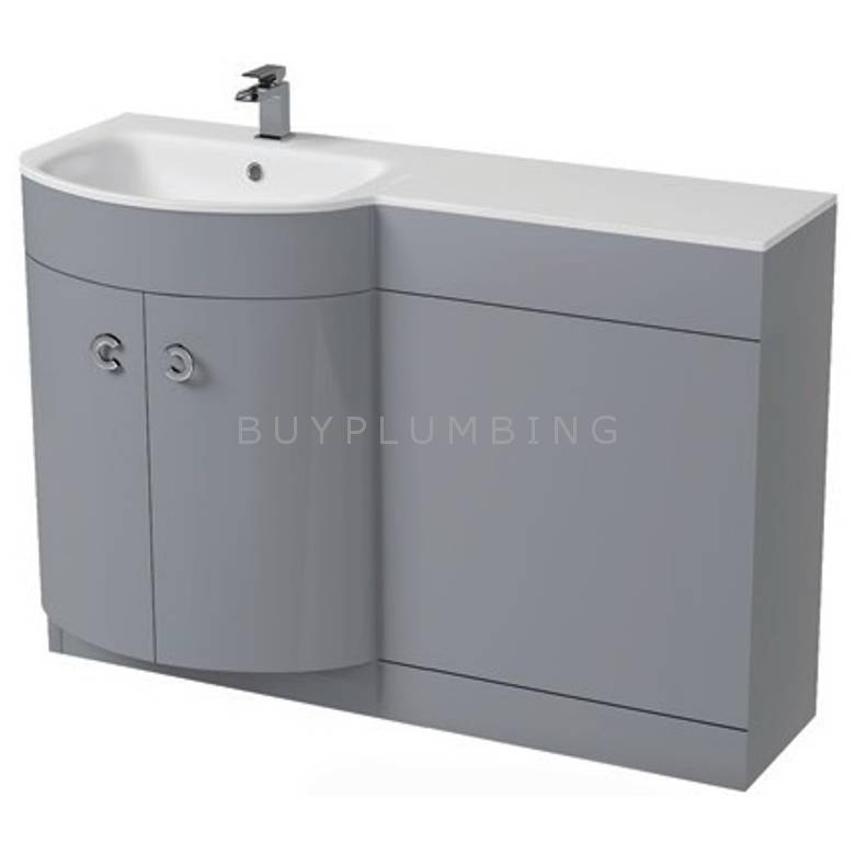 Hygienic Bathrooms Gina Light Grey Gloss/White Glass WC Basin Vanity Unit H825 x W1100mm (Left Hand)