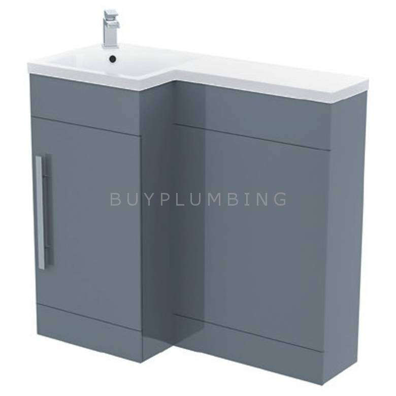 Hygienic Bathrooms H900 Grey Gloss WC Basin Vanity Unit H840 x W900mm (Left Hand) (H900-G-L)