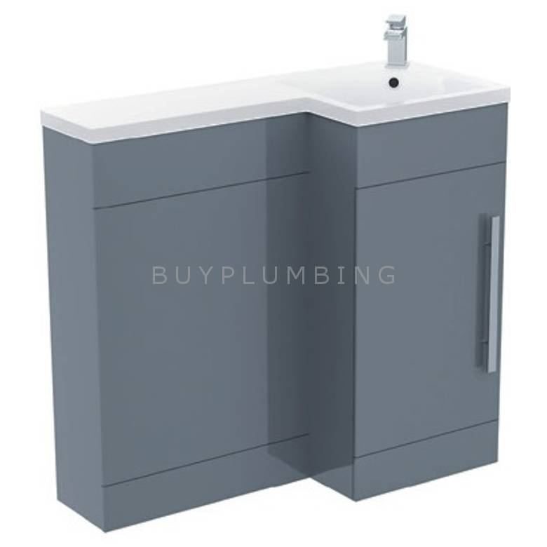 Hygienic Bathrooms H900 Grey Gloss WC Basin Vanity Unit H840 x W900mm (RIght Hand) (H900-G-R)