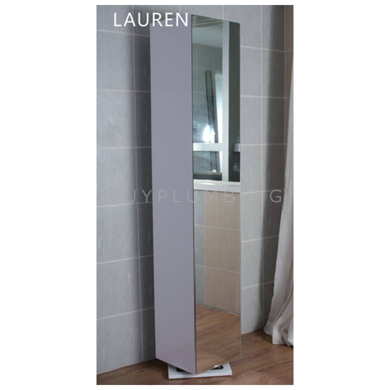 Hygienic Bathrooms Lauren White Gloss Cabinet With Full Length Mirror H1800 x W330mm (LAU180)