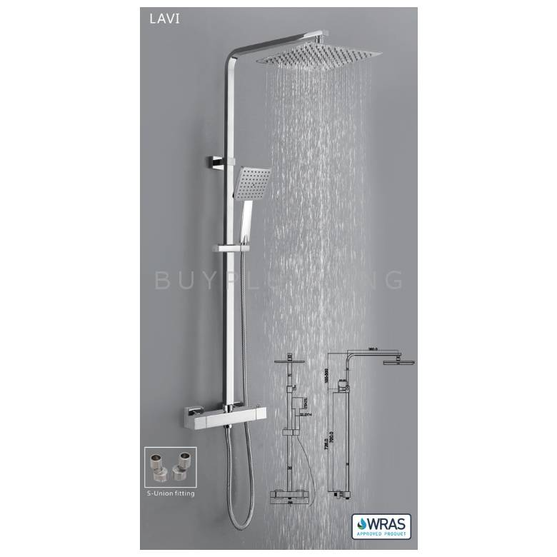 Hygienic Bathrooms Lavi Thermostatic Shower Valve With Adjustable Rigid Riser & S-Union Fittings (LAVI01)