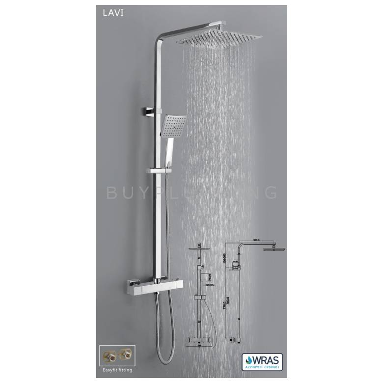 Hygienic Bathrooms Lavi Thermostatic Shower Valve With Adjustable Rigid Riser & Easyfit Fittings