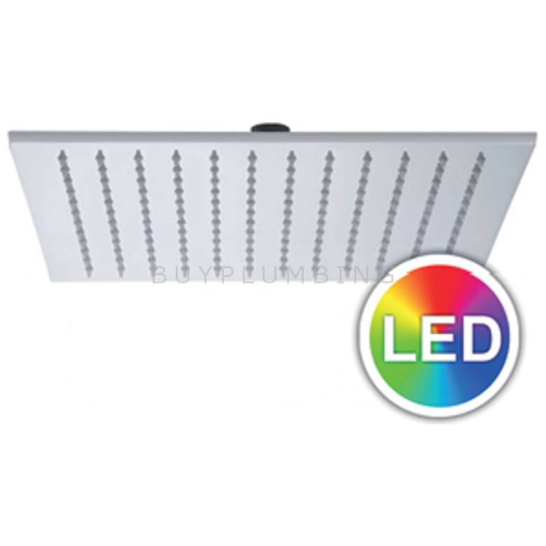 Hygienic Bathrooms LED Colour Changing ABS 200mm Square Shower Head (LEDS200)