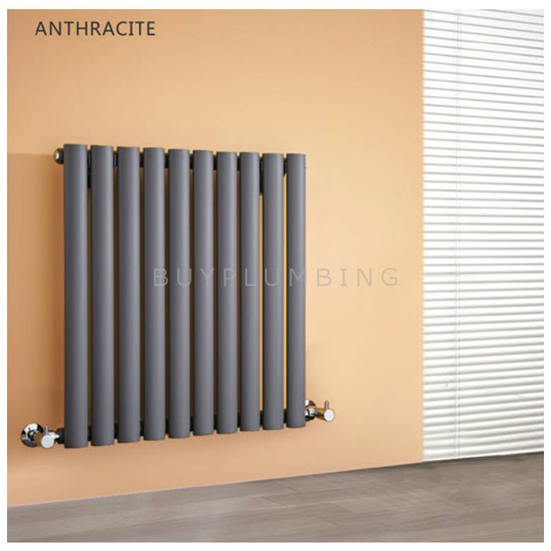 Hygienic Bathrooms 20 Bar Horizontal Oval Double Column Radiator H600 x W600mm (Anthracite)