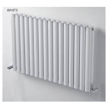 Hygienic Bathrooms 20 Bar Horizontal Oval Double Column Radiator H600 x W600mm (White) (OD6060W)