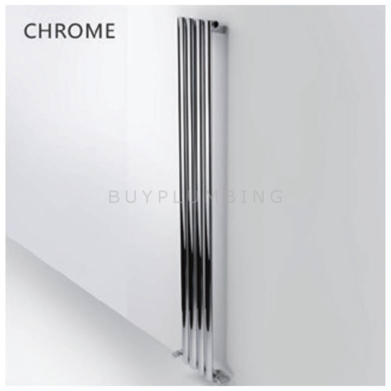 Hygienic Bathrooms 4 Bar Vertical Single Oval Column Radiator H1800 x W240mm (Chrome)