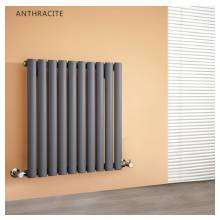 Hygienic Bathrooms 10 Bar Horizontal Single Oval Column Radiator H600 x W600mm (Anthracite)