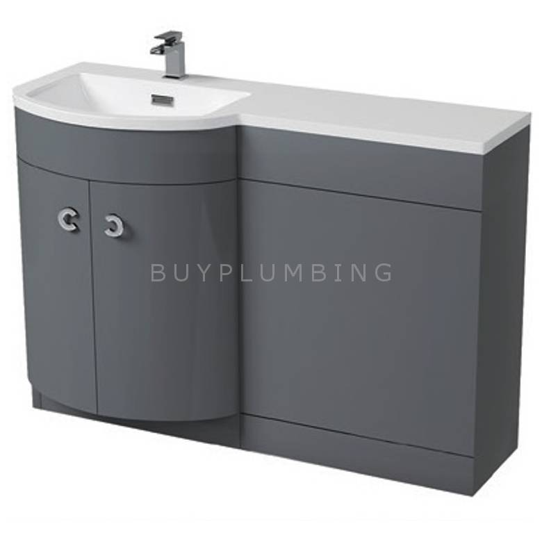 Hygienic Bathrooms Pavy Grey Gloss WC Basin Vanity Unit H825 x W1100mm (Left Hand)