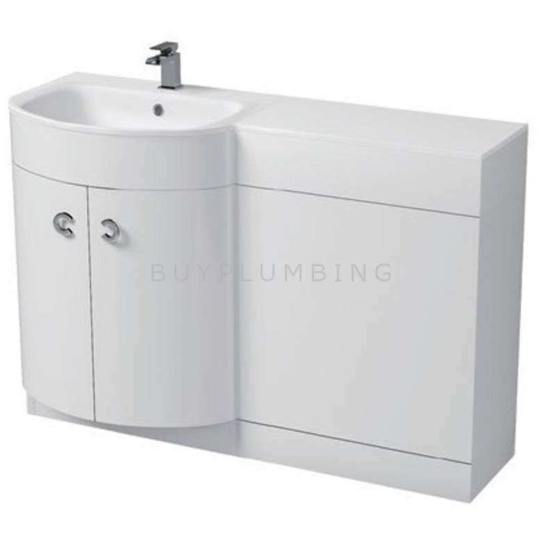 Hygienic Bathrooms Pavy White Gloss WC Basin Vanity Unit H825 x W1100mm (Left Hand) (PAV110W-L)
