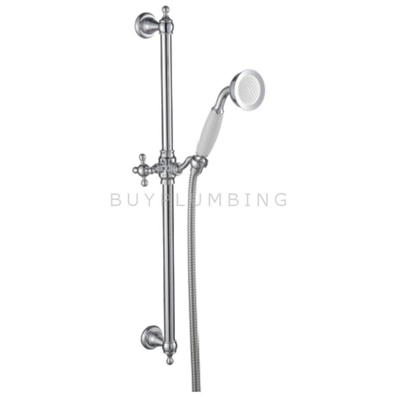 Hygienic Bathrooms Traditional Brass Slider Rail Kit With Ceramic Handset (R070)