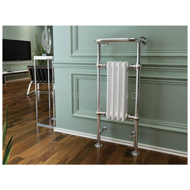 Hygienic Bathrooms Traditional Towel Rail Radiator H963 x W493mm (Chrome/White) (TD9649W)