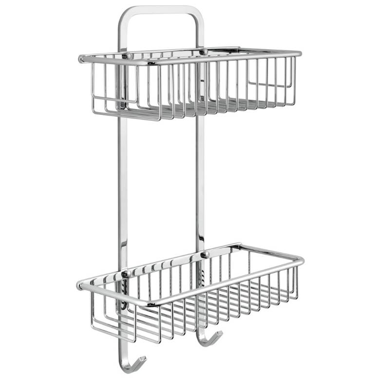 Vado Baskets Large Rectangular Double Basket With Hooks (BAS-2003-C/P)