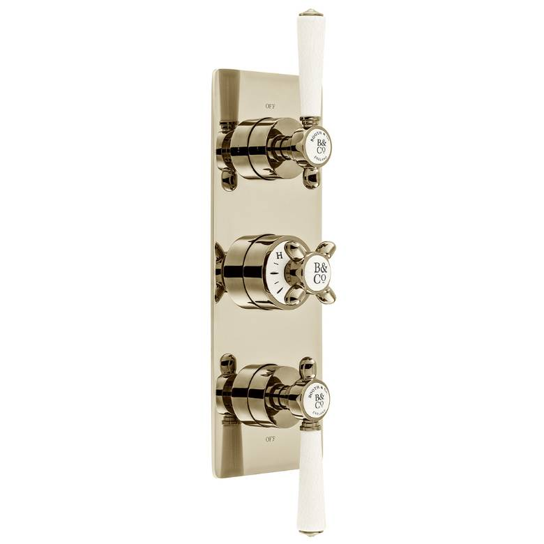 Vado Axbridge 2 Outlet, 3 Handle Concealed Thermostatic Valve In Bright Nickel