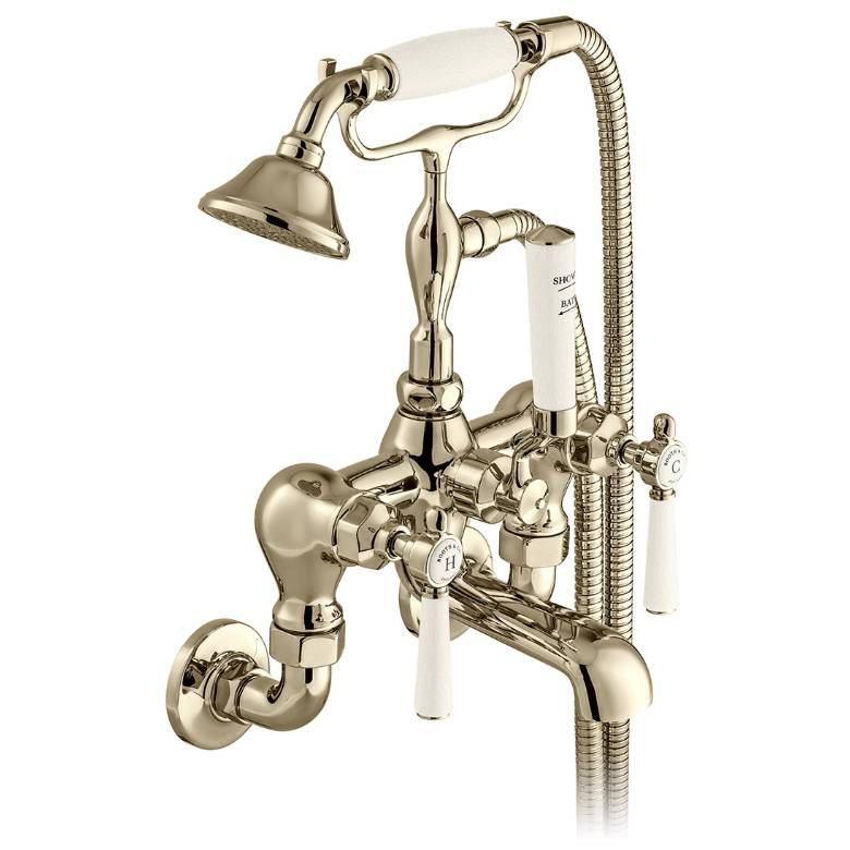 Vado Axbridge Lever Handle Wall Mounted Bath Shower Mixer With Shower Kit In Bright Nickel (BC-AXB-220-BN)