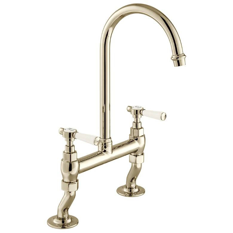 Vado Axbridge Lever Handle Bridge Kitchen Mixer In Bright Nickel (BC-AXB-253-BN)