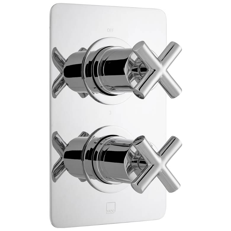 Vado Elements 3 Outlet, 2 Handle Thermostatic Valve (ELE-148D/3/SQ-CP)