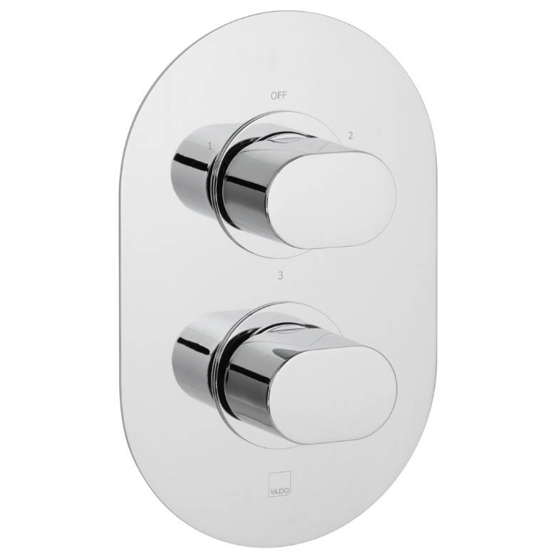 Vado Life 3 Outlet, 2 Handle Thermostatic Valve (LIF-148D/3-C/P)