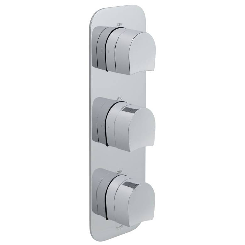 Vado Kovera 2 Outlet, 3 Handle Thermostatic Valve (TAB-128/2-KOV-C/P)