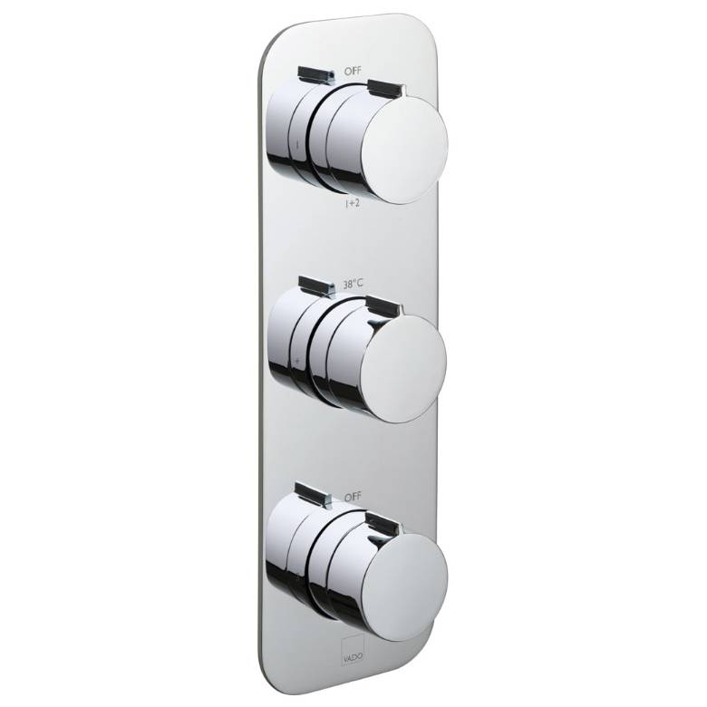 Vado Altitude 3 Outlet, 3 Handle Thermostatic Valve With All-Flow Function (TAB-128/3-ALT-C/P)