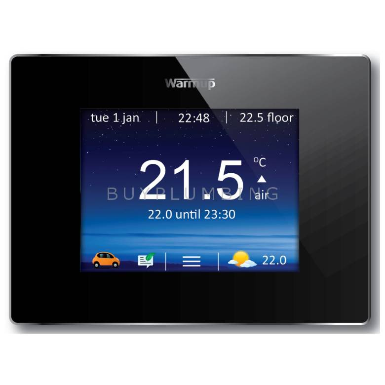 Warmup Onyx Black Smart WiFi Underfloor Heating Thermostat